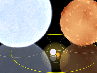 Light-second - The faint yellow sphere centred on the Sun has a radius of one light-minute. For comparison, sizes of Rigel (the blue star in the top left) and Aldebaran (the red star in the top right) are shown to scale. The large yellow ellipse represents Mercury's orbit.