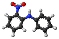 Ball-and-stick model of the 2-nitrodiphenylamine molecule