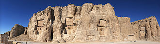 Necropolis - Naqsh-e Rustam. The order of the tombs in Naqshe-e Rustam, from left to right is: Darius II, Artaxerxes I, Darius I, Xerxes I.