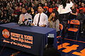 20131115 Jahlil Okafor's father, aunt and coach during verbal commitment.JPG