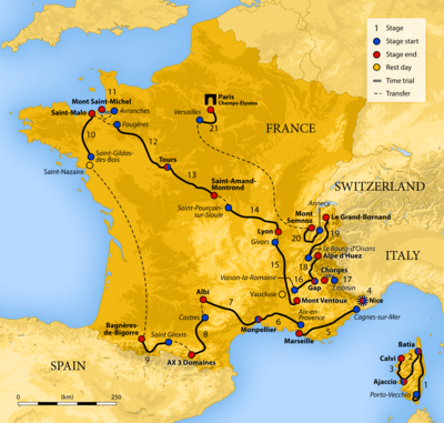 Map of France showing the showing the path of the race starting in Corsica, then going clockwise around France.