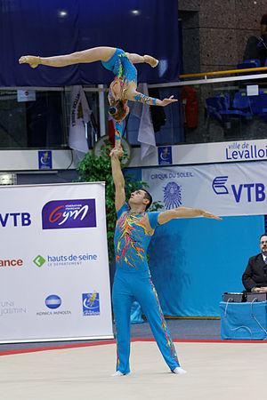 Artur Beliakou - Arthur Beliakou and Aliona Dubinina at the 2014 Acrobatic Gymnastics World Championships.