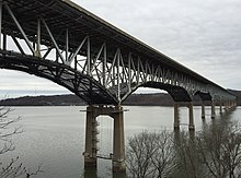 2015-12-26 11 56 38 View southwest towards the Millard E. Tydings Memorial Bridge (Interstate 95) connecting Harford and Cecil Counties, Maryland from the east bank of the Susquehanna River.jpg