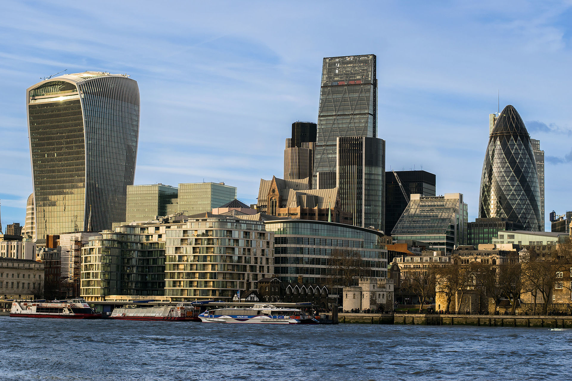 The eastern part of the City of London, seen from the south bank of the Thames in February 2016
