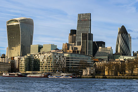 The City of London is the financial capital of the United Kingdom. 2016-02 City of London.jpg
