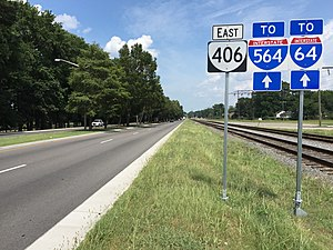 Virginia State Route 406 - View east along SR 406 at Diven Street