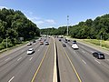 2019-07-12 11 02 18 View south along Interstate 495 (Capital Beltway) from the overpass for Persimmon Tree Road on the edge of Cabin John and Potomac in Montgomery County, Maryland.jpg
