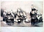 """Reproduction d'une gravure intitulée """"Lendemain de Trafalgar"""" - En fait, l'action eut lieu le surlendemain et il n'y eut pas d'engagement contrairement à ce que suggère la gravure"""