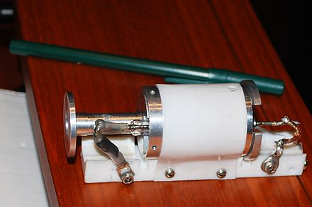 Maiman's original ruby laser 2 Maiman Laser Left Side.jpg