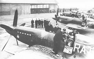 No. 613 Squadron RAF - No. 613 Squadron Spitfire F.14s outside their Hangar No. 7 at RAF Ringway in 1947. Note the squadron's 'RAT' Reserve Command codes