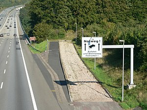 Runaway truck ramp - A runaway truck ramp on the A7 in Germany