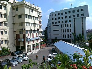 University of Science and Technology Chittagong - View of the Academic Block (to the left) and Central Library (to the right) from the Old Hospital Building