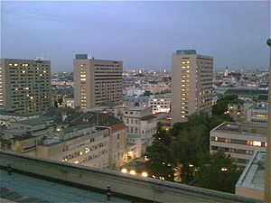 Medical University of Vienna - View of Vienna, Austria at dusk from the roof of the Vienna General Hospital (AKH Wien).