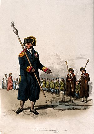 William Miller (British publisher) - A beadle, carrying his staff, published by William Miller, Albemarle Street, 1 January 1805