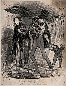 A family group out in heavy rain, the woman is under an umbr Wellcome V0038687.jpg