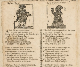 Matty Groves - 'A lamentable ballad of the little Musgrove' . A seventeenth century broadside held in the Bodleian Library