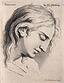 A male face with head bowed, expressing veneration. Engravin Wellcome V0009348.jpg