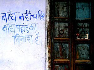 "Sunderlal Bahuguna - A protest message against Tehri dam, which was steered by Sundarlal Bahuguna for years. It says ""We don't want the dam. The dam is the mountain's destruction."""