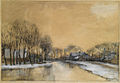 A winter landscape with houses along a canal by Jan Hillebrand Wijsmuller (1855-1925).jpg