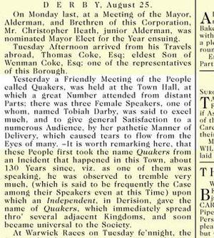 Abiah Darby - Image: Abiah Darby in Derby Mercury