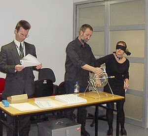 Australian federal election, 2004 - Officials of the Australian Electoral Commission conduct a blind ballot to determine the order of candidates on the House of Representatives ballot paper in the Division of Melbourne Ports, 17 September 2004