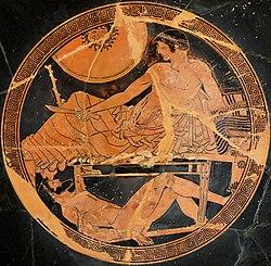 c673412381b8 Achille gardant le corps d Hector, coupe athénienne à figures rouges, v.