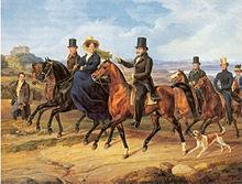 Albrecht Adam: Kavalkade vor Schloss Heiligenberg (1831) – Karl Egon II. zu Fürstenberg und seine Frau Amalie von Baden mit Gefolge. (Quelle: Wikimedia)