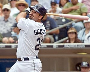 Adrian Gonzalez - Gonzalez after a swing with the San Diego Padres in 2008