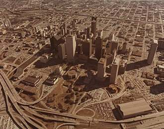 Photographic print toning - Aerial view of downtown Houston 1977