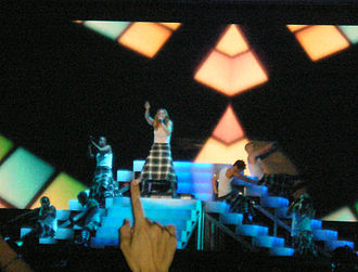 "Music (Madonna song) - Madonna and her dancers perform ""Music"" during the Re-Invention World Tour (2004)."