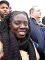 African American woman with black scarf smiling at Inauguration 2013.jpg