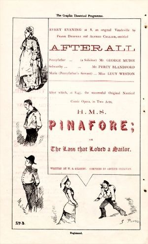 After All! - Programme for the unauthorised production of After All and H.M.S. Pinafore in 1879