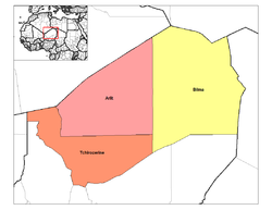 Departements in der Region Agadez bis 2011