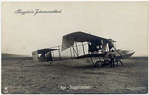 AGO Flugzeugwerke - An AGO 1914 airplane in the Johannisthal aerodrome
