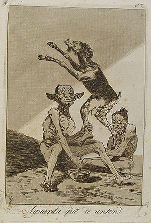 Capricho nº 67: Aguarda que te unten de Goya, ...