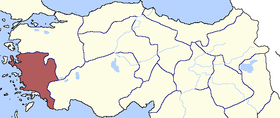 Location of Aydin Eyalet