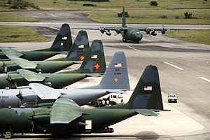 Operation Provide Relief - Eighteen U.S. Air National Guard and Air Force Reserve C-130s flew 20 missions per day from Moi International Airport (Mombasa Airport) to Somalia for Operation Provide Relief.