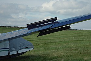 Air brake (aeronautics) - Extended DFS type airbrakes on a Slingsby Capstan