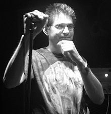 Steve Albini in front of a microphone