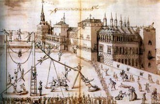 Royal Alcazar of Madrid - Anonymous drawing of the building c. 1596-1597, when the work commissioned by Philip II was near completion. On the right, the Golden Tower, built by Juan Bautista of Toledo, can be seen in the southwestern corner of the Alcázar.