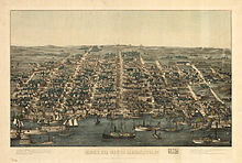 Elegant drawing of city from above Potomac river looking west over streets of Alexandria and several sailing boats in foreground