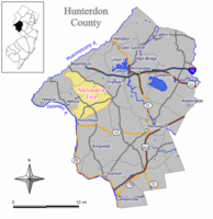 Map of Alexandria Township in Hunterdon County. Inset: Location of Hunterdon County in the State of New Jersey.