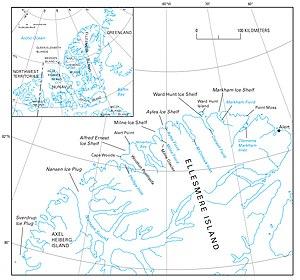Alfred Ernest Ice Shelf - Map of part of Ellesmere Island showing location of Alfred Ernest Ice Shelf