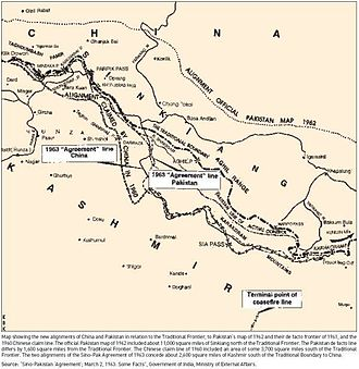 Trans-Karakoram Tract - Official alignment of the Government of Pakistan in 1962. The border is in the extreme north and is depicted as a dotted line with the caption Alignment Official Pakistan Map 1962