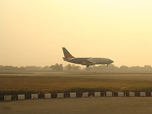 An Alliance Air aircraft landing in New Delhi