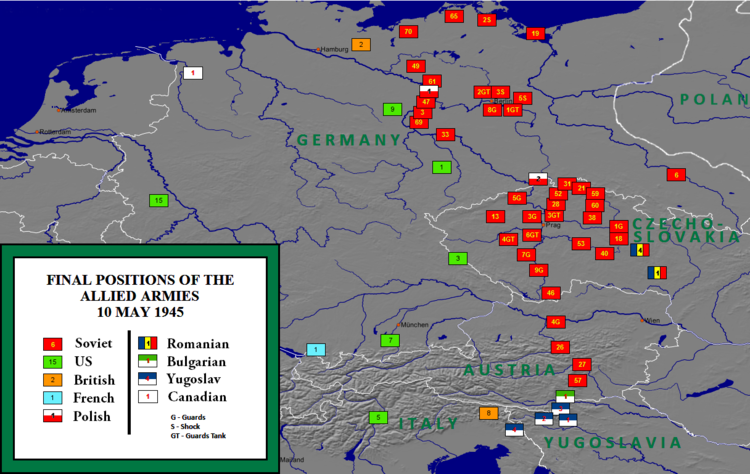 Allied Army Positions on May 10 1945