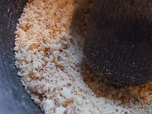 Almond meal - Almond meal being made by hand