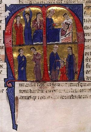 Baldwin IV of Jerusalem - Top: Death of Amalric I; Bottom: Coronation of Baldwin IV. (MS of William of Tyre's Historia and Old French Continuation, painted in Acre, 13C. Bib. Nat. Française.)