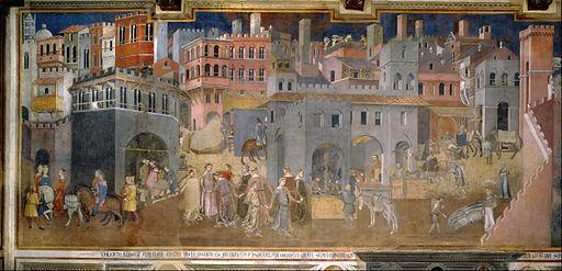 Ambrogio Lorenzetti, Effetti del Buon Governo in città, 1338-1339, Sala della Pace, Palazzo Pubblico, Siena