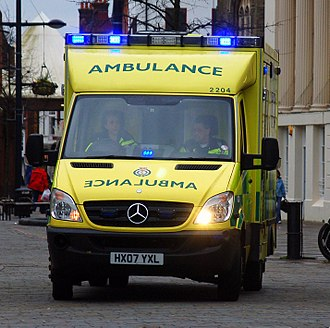 Emergency service - A South Western ambulance responds to a 999 call in Fareham, England.